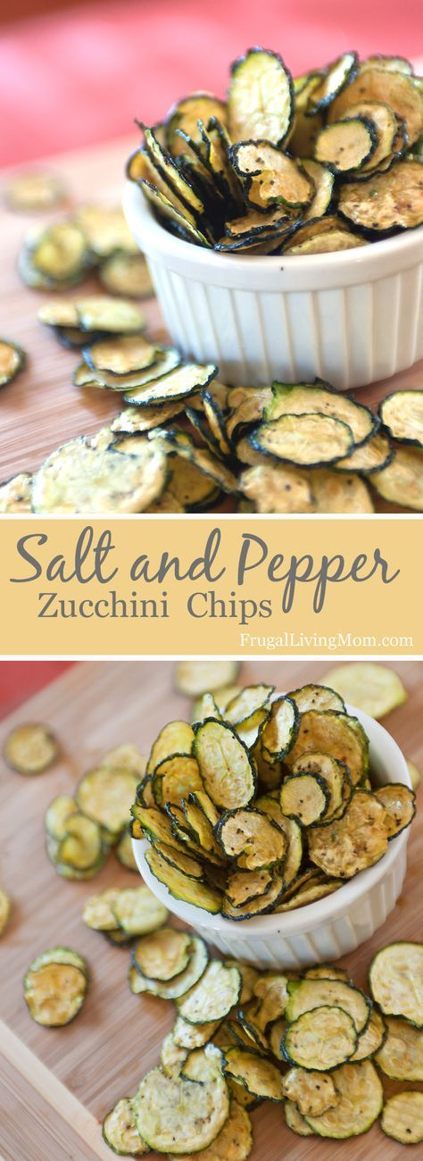 Oh MY Goodness. These zucchini chips are SO good. www.frugallivingm... Full of flavor, and just a little spicy because of the pepper. Amazingly easy to make, too! Would be perfect with a homemade garlic dip.