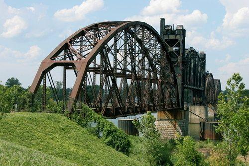 The Rock Island Bridge spans the Arkansas River at Little Rock.