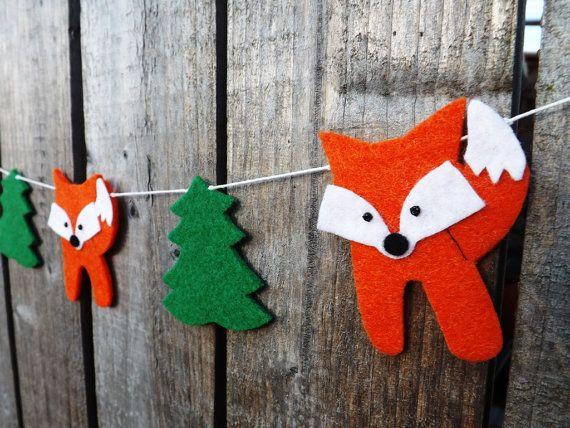 Fox Garland Banner Fox Nursery Fox Decor Woodland by FeltWitch