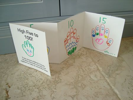 Trace around each child's hand and let him decorate it. Attach pages with tape to make an accordion book. Number pages 5, 10, 15, 20…etc