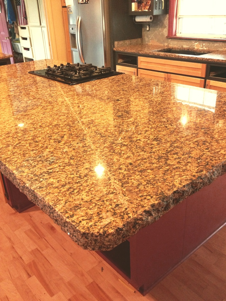 "Kitchen Island Granite Edges kitchen island ""after"" with 6cm portofino granite with chiseled"