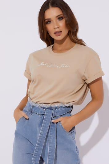 c37ca6e5be Dani Dyer Babe Babe Babe Stone Slogan Tee Shirt | Kaci-Jay in 2019 ...