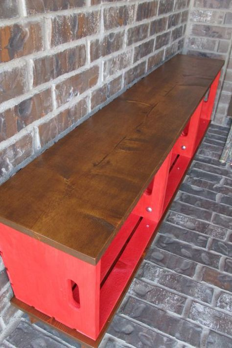 Make a bench out of crates and paint a bright color - so easy and good tutorial