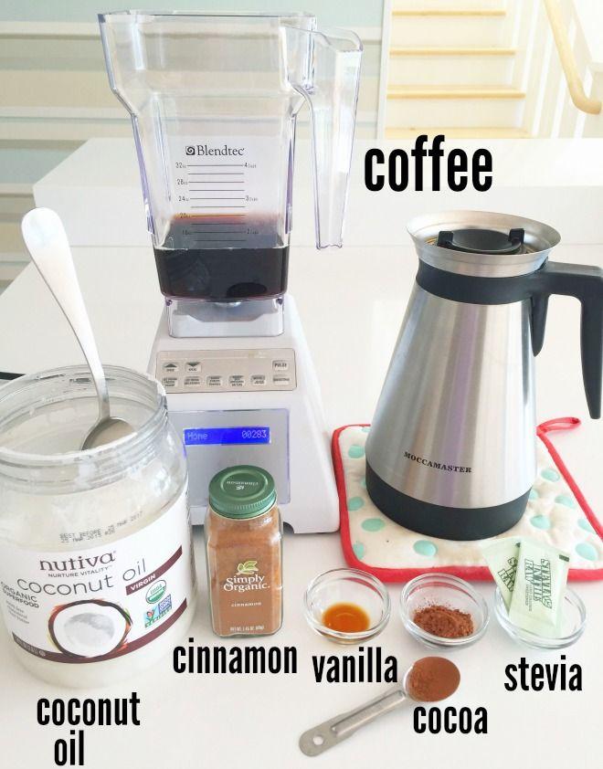 Creamy Coconut Oil Coffee 10 ounces brewed coffee 1 tablespoon coconut oil sprinkle of cinnamon 1/2 teaspoon pure vanilla extract 1 teaspoon cocoa powder stevia to sweeten pour over ice
