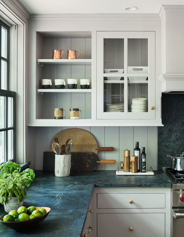 Soapstone gets darker with use and time, so this kitchen's homeowners can look forward to a rich, lived-in look in the years to come.