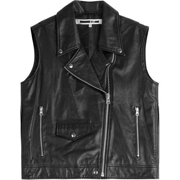 McQ Alexander McQueen Fringed Leather Biker Vest ($495) ❤ liked on Polyvore featuring outerwear, vests, vest, black, coats, biker vest, sheer vest, leather waistcoat, leather vests and fringe vest