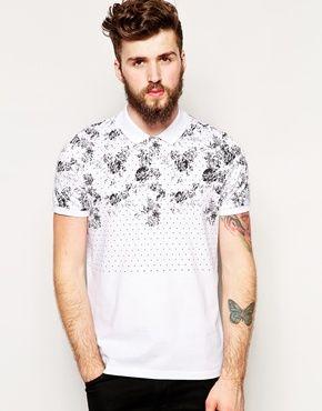ASOS Polo Shirt With Polka Dot & Floral Print