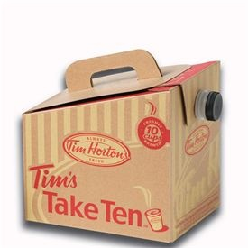 Tim's Take Ten....  Why take 1, when you can take 10!  Comes with 10 small cups, and all the fixings in an insulated tote to keep it Hot!