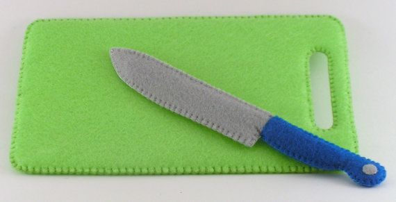 Felt Food Cutting Board and Knife Set WOOL BLEND by ThePixiePalace, $24.00
