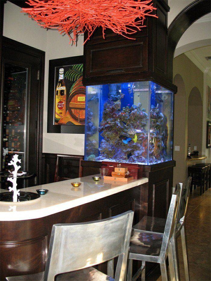 decoration aquarium pas cher pour le bar de cuisine