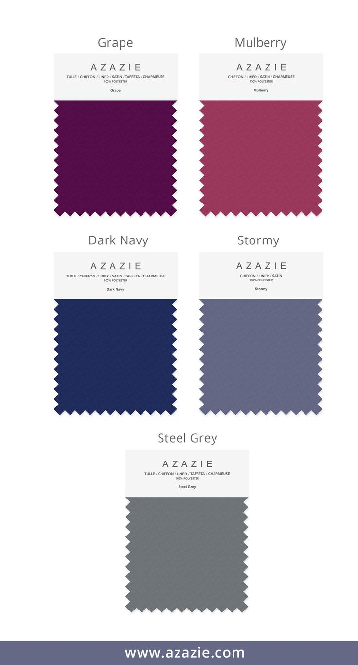 Azazie Top 5 Fall Color Set (5 shades * 6 fabrics) - Bridesmaid dress, Wedding, Wedding gown, grape, stormy, mulberry, steel grey, dark navy chiffon, mesh, lace
