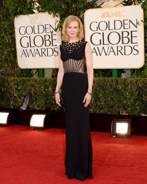 In corseted black at the 2013 Golden Globe Awards.