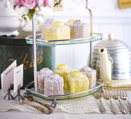Lemon & lavender fondant fancies. Elegant sponge squares that are petite and pretty as a picture - impress with light flavours and silky butter icing