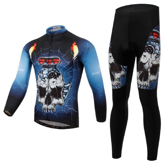 Skull Car men nice thermal fleece bike jersey pants & bibshort free shipping XINTOWN