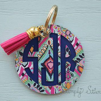 Lilly Pulitzer Monogrammed Keychain, Monogram Key chain, Lilly Pulitzer Inspired Keychain Best friend
