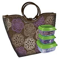 Alexandria Insulated Lunch Bag Kit - Purple Flowers