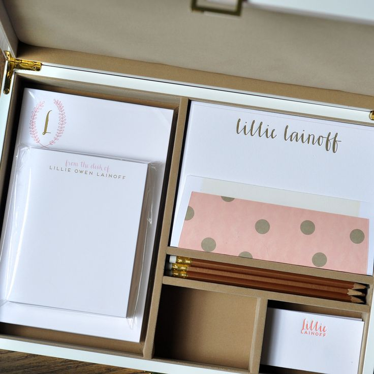 Haute Papier's mix-and-match, personalized stationery desk set from KATIE AND CO - The Camel Collection is flat printed and letterpressed in salmon & matte gold inks and customized with your name and monogram.
