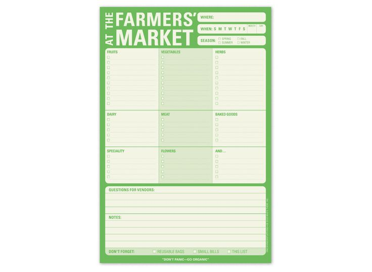 Farmer's Market Checklist Pad