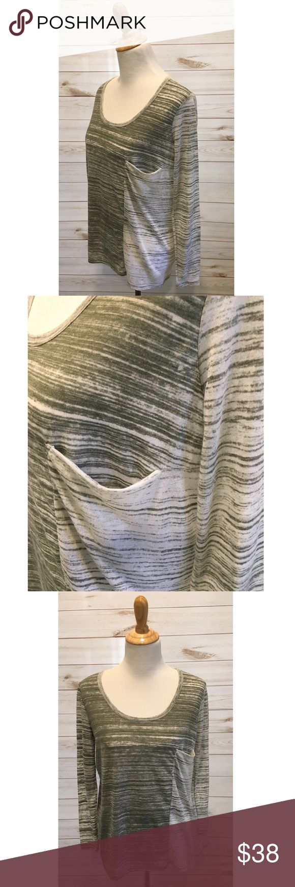 """Helmut Lang Green & White Burnout Tissue T HELMUT Helmut Lang long sleeved tissue shirt. Size M. Green & white 'burnout' style. Slouchy pocket in the front. Excellent condition, no flaws or signs of wear.   Bust: 18.5"""" pit to pit laying flat  Length: 22"""" from shoulder  Sleeve Length: 22.5"""" from shoulder Helmut Lang Tops Tees - Long Sleeve"""