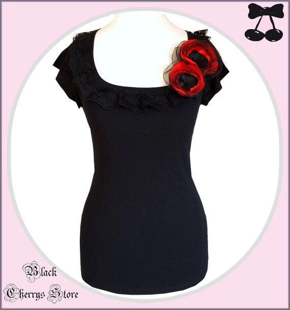 S M L XL XXL gotische Boheemse shirt bovenste zwart van kant bloemen broche boho shabby romantische bruiloft