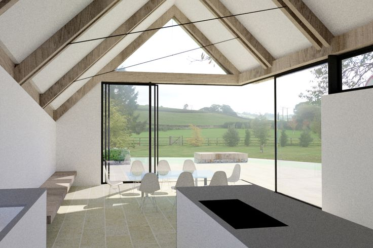 Contemporary thatched roof extension to listed farmhouse, with structural glass sliding doors, green oak frame and flint stone walls. Polished concrete flooring and kitchen island.