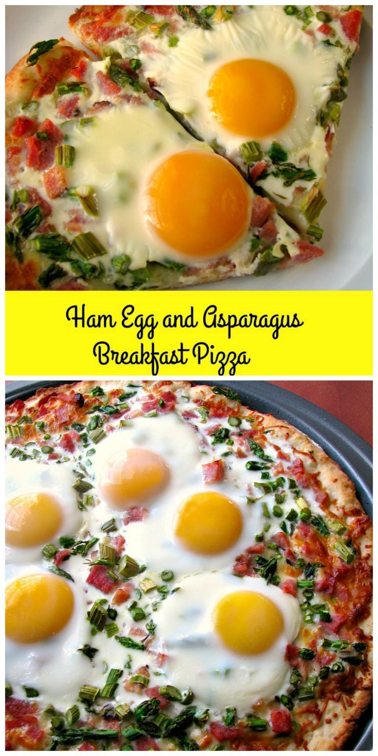 Cheesy Ham Egg and Asparagus Breakfast Pizza made with a homemade pizza crust, diced ham, asparagus, and sunny-side up eggs, is perfect for brunch! #BrunchWeek Ad #breakfast #brunch #pizza #ham #egg #asparagus