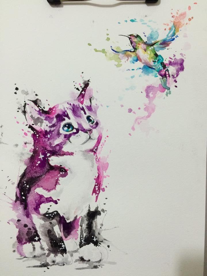 Watercolor Cat & Hummingbird Drawing.  Drawn by @javiwolfink  www.javiwolf.com