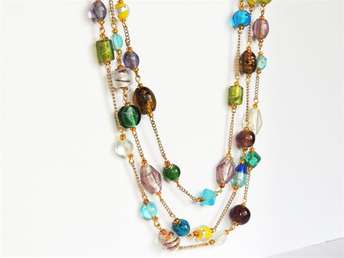 Triple strand mixed colour beaded necklace | Cath's Craft Creations | madeit.com.au