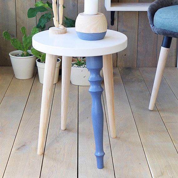 Wood Stool White Blue Stool Small Accent Table End Table