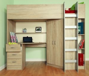 Calder High Sleeper Cabin Bed, Wardrobe, Drawers, Bookcase, Desk, Shelving, Oak style M2270Oak