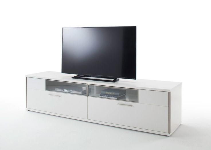 Lowboard Davos TV-Element Weiß Matt Lack mit Balkeneiche 22546. Buy now at https://www.moebel-wohnbar.de/lowboard-davos-tv-element-weiss-matt-lack-mit-balkeneiche-22546
