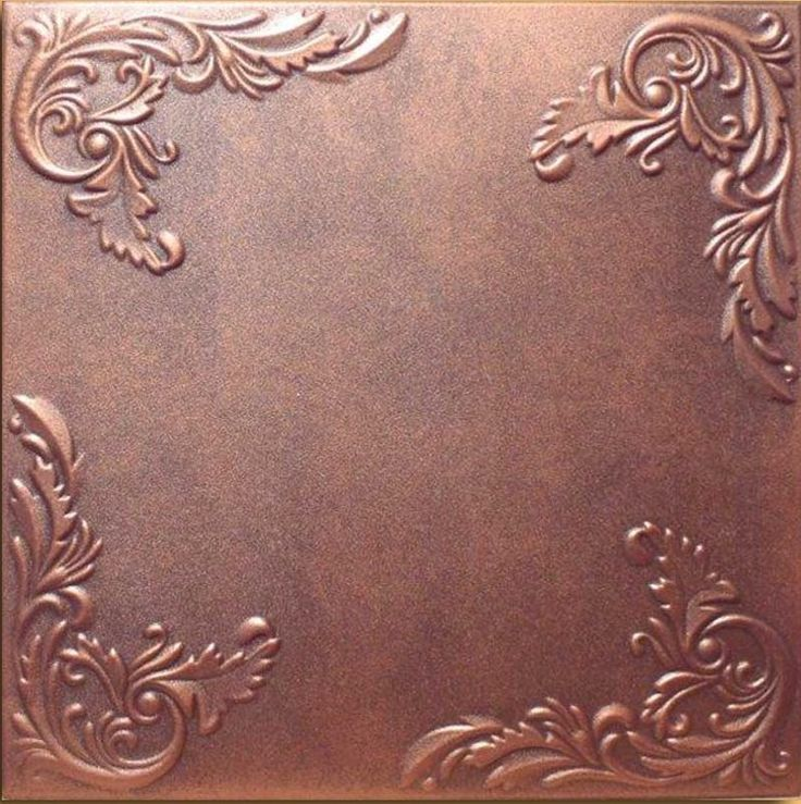 Custom painted styrofoam ceiling tile looks just like real tin and copper tiles plus provides insulation