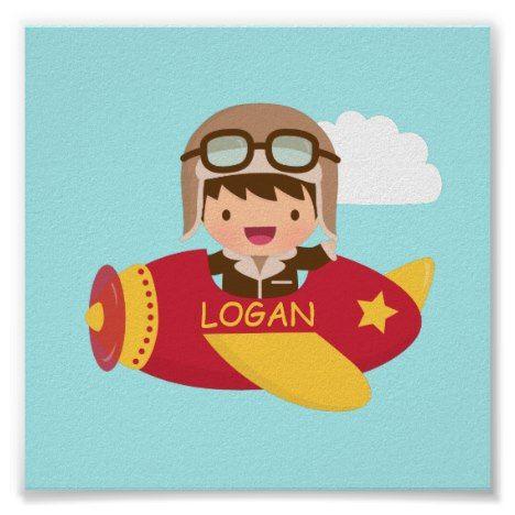 Cute Aviator Boy Airplane Boys Room Decor #cute #kidsposters #posters #kidsdecor