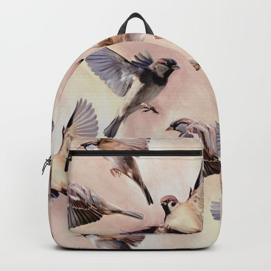 """""""Sparrow Flight"""" Backpack by Micklyn on #Society6 #bird #backpack"""