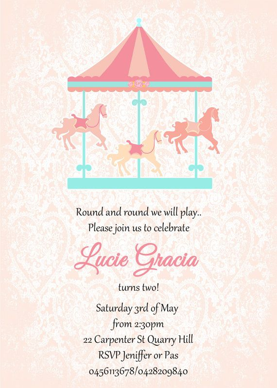 Personalized Vintage, shabby chic, carousel, 1st birthday, baby shower, baby girl, pink, white, aqua, lace,pdf, printable, invitation on Etsy, $18.50