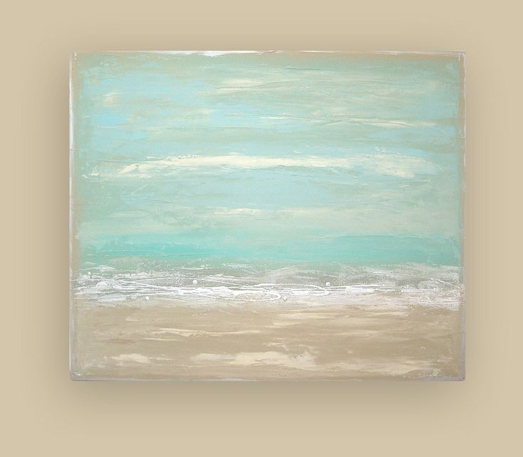 Beach Shabby Chic Acrylic Abstract Painting Titled: Ocean ...