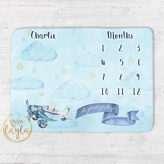 Baby Monthly Milestone Photo Blanket for Boys Airplane Baby Blanket