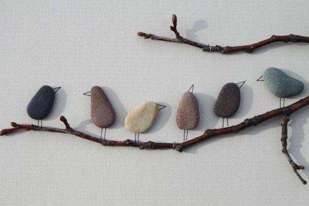 "DIY Canvas Rocky ""Rocking Birds"" on Real Branches! Easy to make and when you ""prep"" the canvas and branches with Waterproof PVE (wood) glue, you can leave it outside too! :-) You need: a Canvas, some nice Rocks, some branches, a permanent marker/sharpie or steady paint hand :-) I added some music notes too, just a extra birdy touch! :-D"