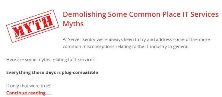 Demolishing Some Common Place IT Services Myths Read to know more, http://www.serversentry.com.au/demolishing-commonplace-services-myths/