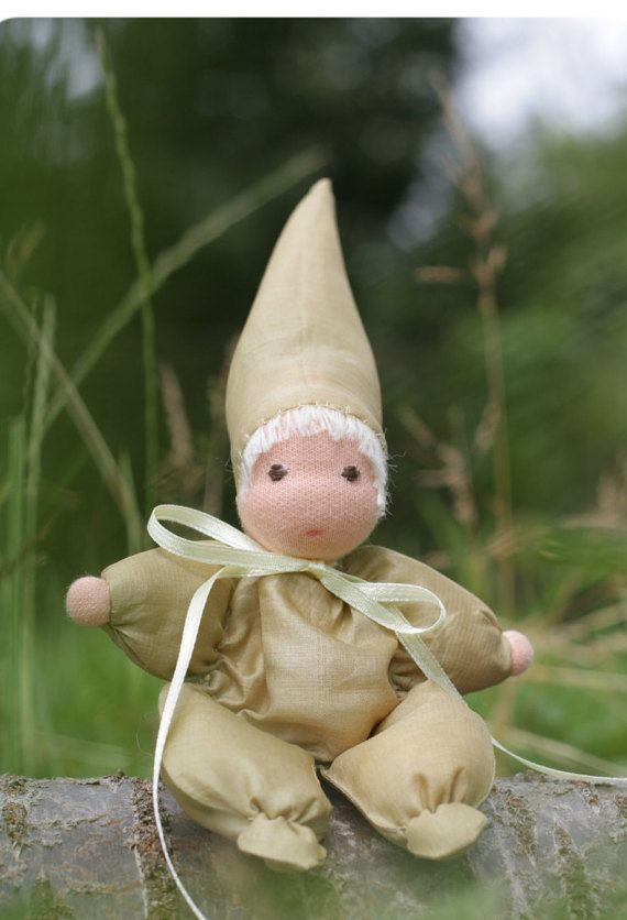 Tussah gnome  waldorf doll from wild silk  eco by ElodeaToys