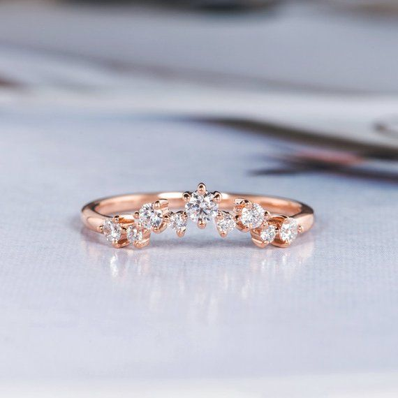 Rose Gold Wedding Band Women Curved Wedding Band Diamond Chevron