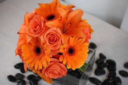 BB0479-Orange, Rose, Lily and Gerber Daisy Bouquet