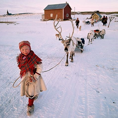 Sami girl leading her reindeer across the tundra.  She reminds me of the little girl in Jan Brett's book, The Trouble with Trolls. #Norway ☮k☮ #Norge