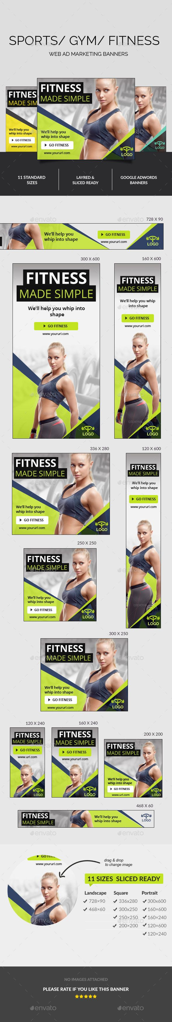 Fitness Ad Banners Template PSD | Download: http://graphicriver.net/item/fitness-ad-banners/11001130?ref=ksioks