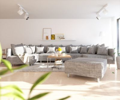 Couch Clovis XL Hellgrau Strukturstoff mit Hocker Wohnlandschaft Jetzt bestellen unter: https://moebel.ladendirekt.de/wohnzimmer/sofas/wohnlandschaften/?uid=c471ef03-1f1e-556a-bae7-ee560e013dfa&utm_source=pinterest&utm_medium=pin&utm_campaign=boards #sofas #wohnzimmer #wohnl #schaften