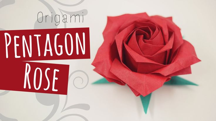 Origami Pentagon Rose tutorial. Intermediate level origami. 折り紙 Calyx video here: https://www.youtube.com/watch?v=tocRa6D_iWM Like my fanpage on Facebook to ...