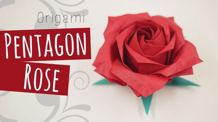 Origami Pentagon Rose tutorial. Intermediate level origami. 折り紙 Calyx video here: https://www.youtube.com/watch?v=tocRa6D_iWM Like my fanpage on Facebook to ...