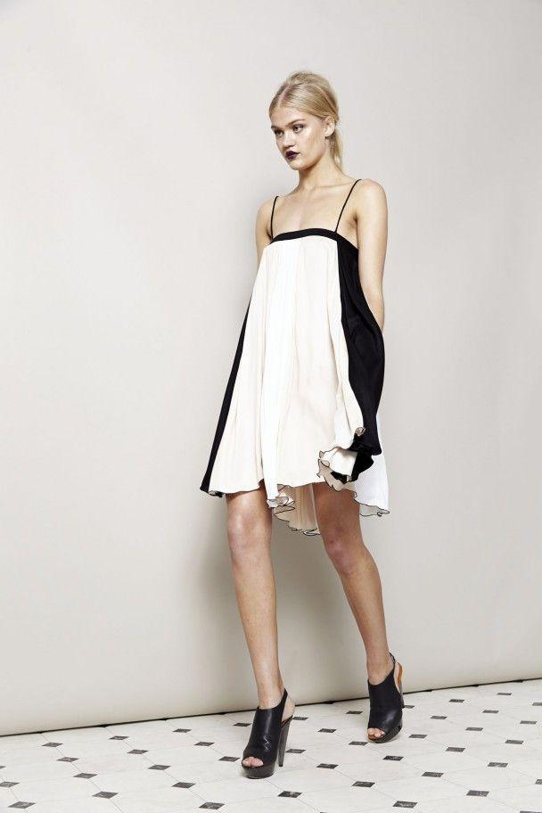 CONCRETE SANDS GATHERED MINI DRESS by Shona Joy