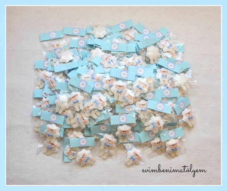 keçeden kuzu bebek şekerleri şeffaf paketli doğum magnetleri