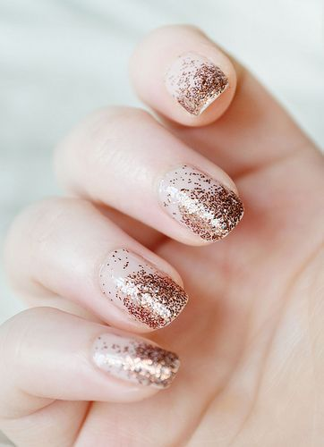 Dipped bronze glitter nails